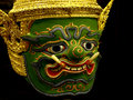 Khon mask of ramayana story in thailand isolate photo blackground is black Stock Image