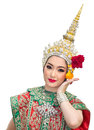 Khon show beautiful women and  traditional costume Stock Photo
