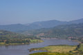 Khong river with bluesky chiankhong in chiangrai thailand Stock Images