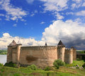 Khotin fortress famous khotyn in ukraine over beautiful landscape with blue cloudy sky Royalty Free Stock Photography