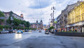 Khreshchatyk street kiev ukraine may is the central thoroughfare of kiev in the evening on may in kiev Royalty Free Stock Photography