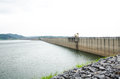 Khundanprakanchon dam crushed concrete nakhon nayok thailand Stock Photo