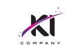 KI K I Black Letter Logo Design with Purple Magenta Swoosh