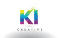 KI K I Colorful Letter Origami Triangles Design Vector.