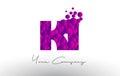 KI K I Dots Letter Logo with Purple Bubbles Texture.