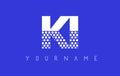 KI K I Dotted Letter Logo Design with Blue Background.