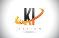 KI K I Letter Logo with Fire Flames Design and Orange Swoosh.