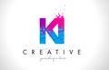 KI K I Letter Logo with Shattered Broken Blue Pink Texture Desig