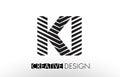 KI K I Lines Letter Design with Creative Elegant Zebra