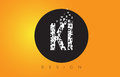 KI K I Logo Made of Small Letters with Black Circle and Yellow B