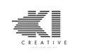 KI K I Zebra Letter Logo Design with Black and White Stripes