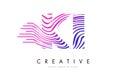 KI K I Zebra Lines Letter Logo Design with Magenta Colors