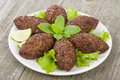 Kibbeh middle eastern minced meat and bulghur wheat fried snack also popular party dish in brazil kibe Stock Image