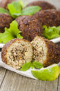 Kibbeh middle eastern minced meat and bulghur wheat fried snack also popular party dish in brazil kibe Stock Images
