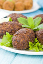 Kibbeh middle eastern minced meat and bulghur wheat fried snack also popular party dish in brazil kibe Stock Photo