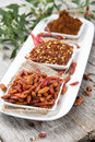Kibbled chilli fruits portions of Royalty Free Stock Images