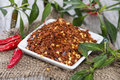 Kibbled chilli fruits portions of Stock Photo