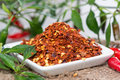 Kibbled chilli heap of macro shot Stock Photo