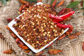 Kibbled chilli heap of macro shot Royalty Free Stock Images