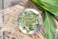 Kibbled ramson small portion of getailed close up shot Stock Images
