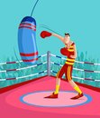Kick boxer cartoon style in vector Royalty Free Stock Images