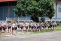 Kick boxers statues muay thai statue of at bang kung temple samut songkhram thailand Stock Photo