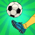 Kick a soccer ball pop art retro style the european football the free Royalty Free Stock Image