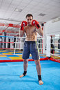 Kickbox fighter shadow boxing in the ring Royalty Free Stock Photo