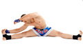 Kickbox fighter stretching Royalty Free Stock Photo