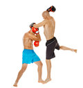 Kickbox fighters sparring Royalty Free Stock Photo