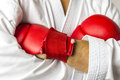 Kickboxer arms crossed closeup of Stock Images