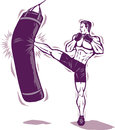 Kickboxer man male killing the bag Stock Photo