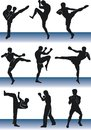 Kickboxer silhouettes of fighters black boxers men fight Royalty Free Stock Image