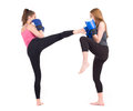 Kickboxing girls fight Royalty Free Stock Photo