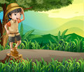 A kid above a stump sightseeing illustration of Royalty Free Stock Images