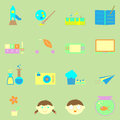 Kid activities color icons set stock vector Royalty Free Stock Photo