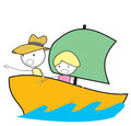 Kid adventure boat illustration eps Stock Images