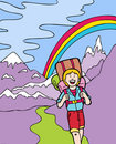 Kid Adventures: Hiking in the Mountains Stock Image