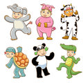 Kid with animals costume eps file no gradients no effects no mesh no transparencies all in separate group for easy editing Stock Photos