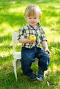 Kid with apple in the garden cute baby boy sitting on chair green and eating an Stock Photography