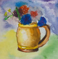 Kid aquarelle drawing of a colorful bouquet kids flowers in small vase over vivid background Royalty Free Stock Photo