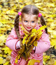 Kid in autumn orange leaves. Stock Photography