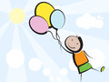 Kid with balloons flying boy three Stock Photo