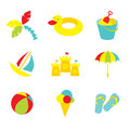 Kid beach icons vector set of child summer toys and symbols Stock Photography