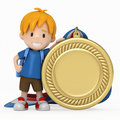 Kid with Big Medal Stock Photos