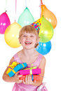 Kid with birthday presents Royalty Free Stock Photo