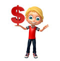 Kid boy with dollar Royalty Free Stock Photo