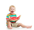 Kid boy eating watermelon on white Stock Image