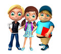 Kid boy and girl with School bag & book Royalty Free Stock Photo
