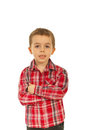 Kid boy with hands crossed Royalty Free Stock Image